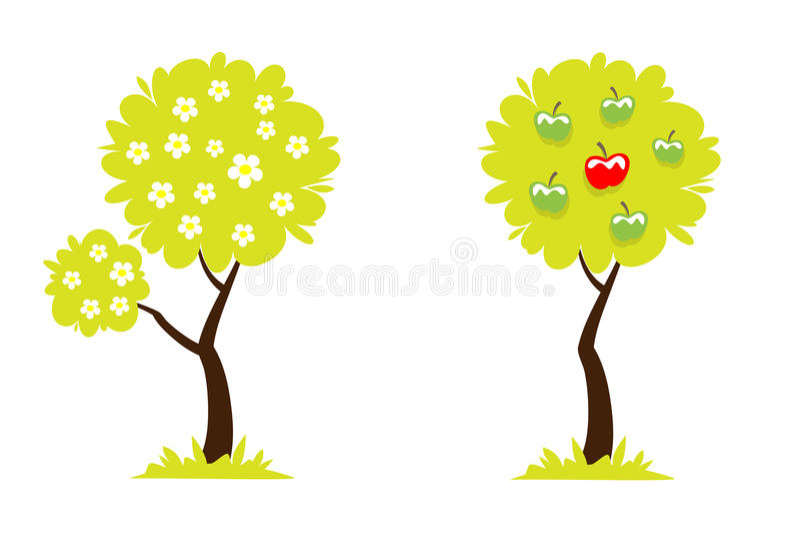 Drzewo z kwiatami i drzewo z jabłkami zielonymi i czerwonymi ilustracja wektor