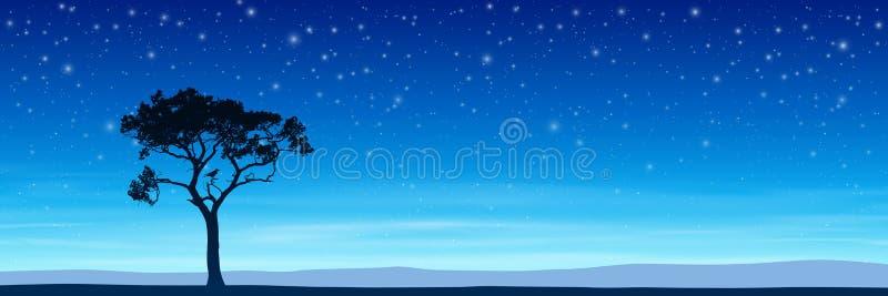 Drzewo z nocnym niebem royalty ilustracja
