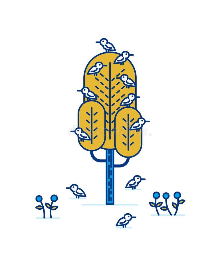 Drzewo z ptakami ilustracji