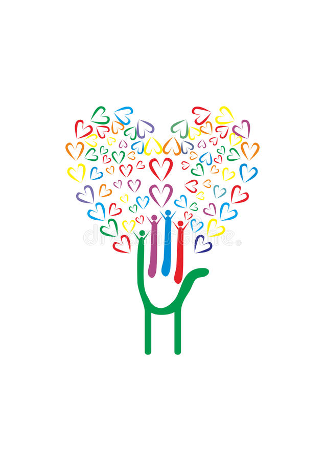 Drzewo z rękami i sercami ilustracji