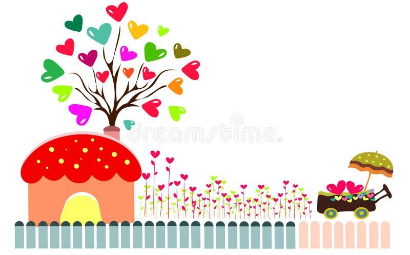 Drzewo z serca tłem ilustracji