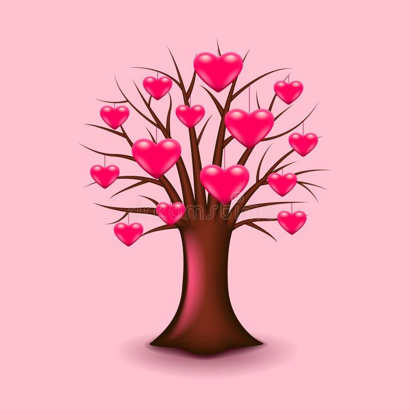 Drzewo z sercami wektorowymi ilustracja wektor