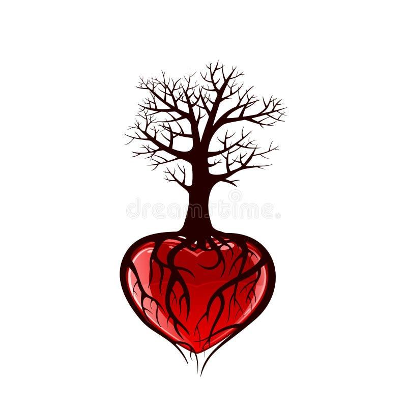 Drzewo z sercem ilustracji