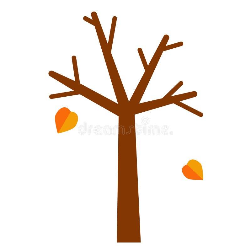 Drzewo z spada liścia mieszkania ilustracją ilustracja wektor