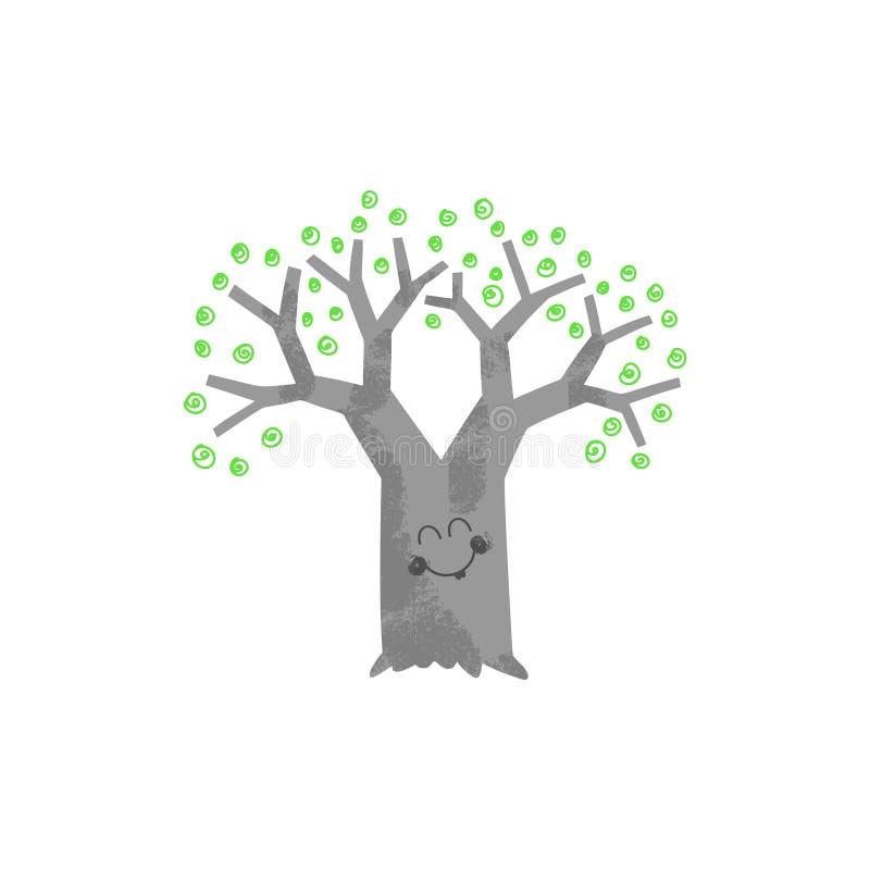 Drzewo z twarz wektoru ilustracją ilustracji