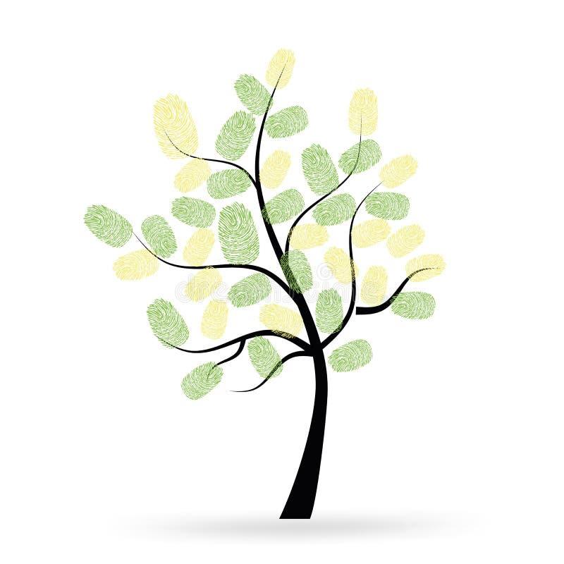 Drzewo z zielonymi odciskami palca wektorowymi royalty ilustracja