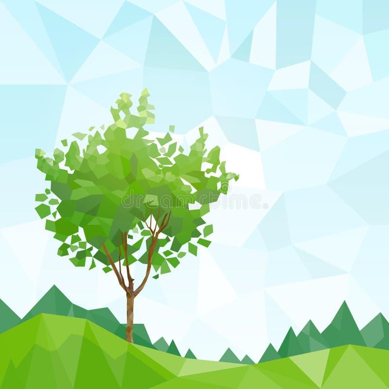 Drzewo zieleń opuszcza wielobok grafikę z kopii przestrzenią ilustracja wektor