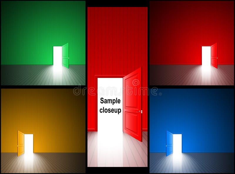 Drzwi Błękitnej zieleni wyjścia Otwarty Lekki Czerwony Żółty Izbowy set ilustracji