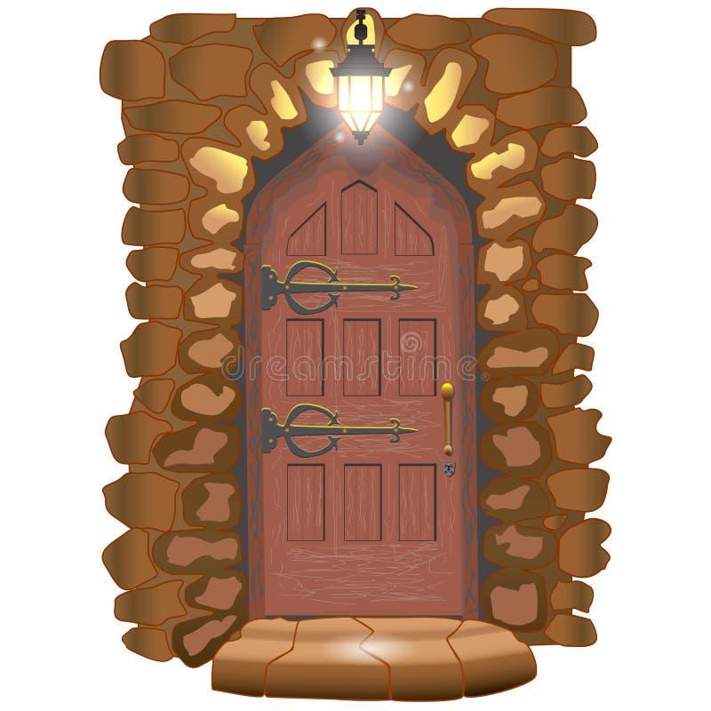 Drzwi bajka kasztel ilustracja wektor
