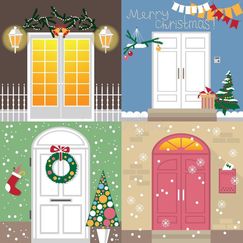 Drzwi Bożenarodzeniowy wakacje royalty ilustracja