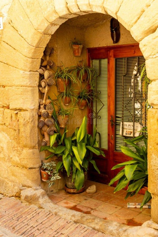 Drzwi dekorujący z skorupami i roślinami zdjęcie stock