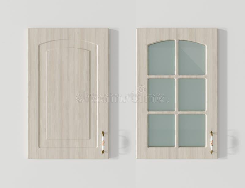 Drzwi dla kuchennych gabinetów drewna 3D białego renderingu royalty ilustracja