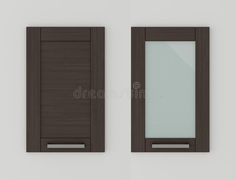 Drzwi dla kuchennych gabinetów orzecha włoskiego 3D renderingu royalty ilustracja