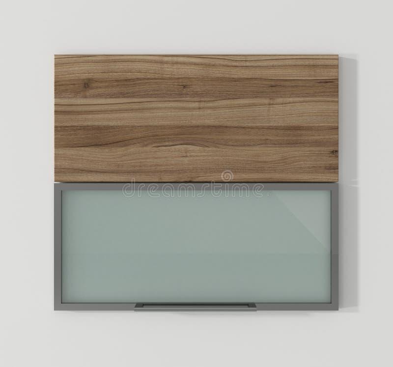 Drzwi dla kuchennych gabinetów orzecha włoskiego i aluminiowego 3D renderingu royalty ilustracja