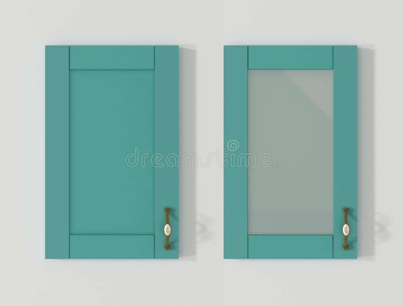 Drzwi dla kuchennych gabinetów turkusu 3D pastelowego renderingu royalty ilustracja
