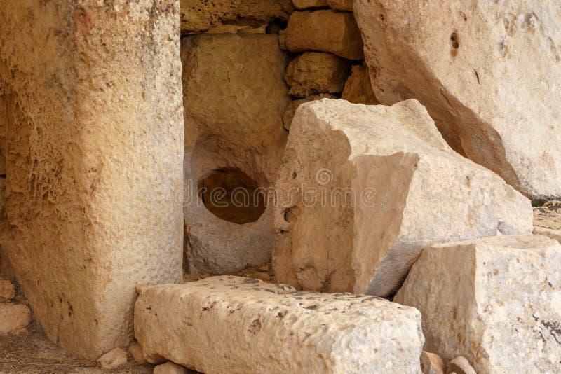 Drzwi i Windows Hagar Qim i Mnajdra świątynie fotografia stock