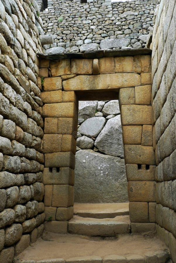 drzwi inka machu picchu świątynia zdjęcie royalty free