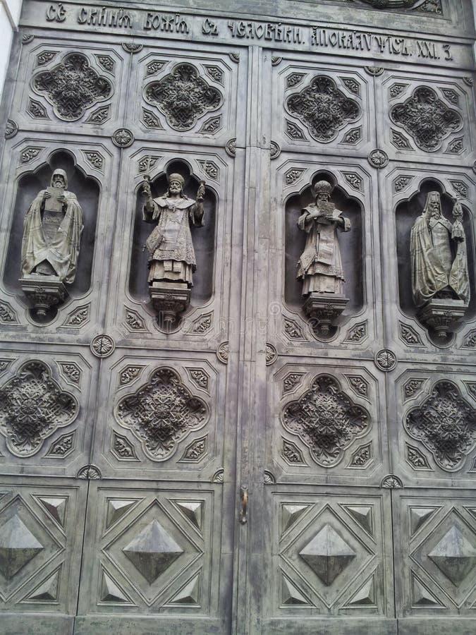 Drzwi katedra Chrystus wybawiciel, Moskwa, Rosja zdjęcia stock
