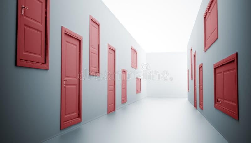 drzwi korytarz dużo ilustracji