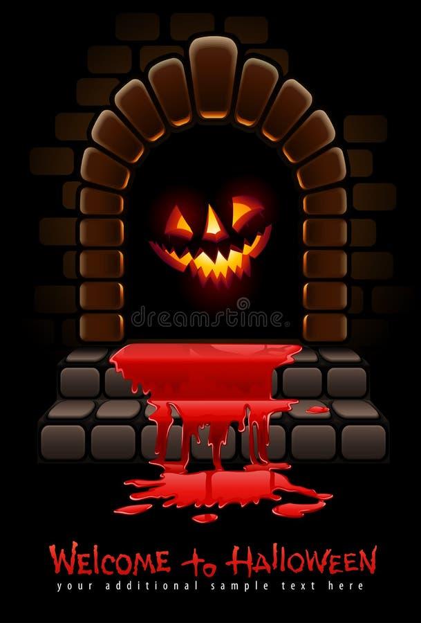 drzwi krwisty wejście Halloween okropny royalty ilustracja