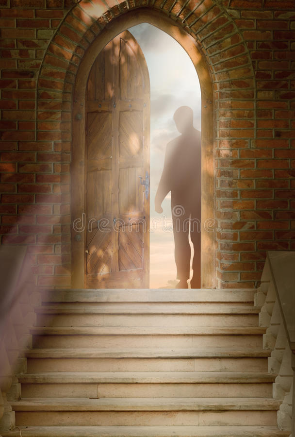 drzwi mężczyzna stojaki royalty ilustracja