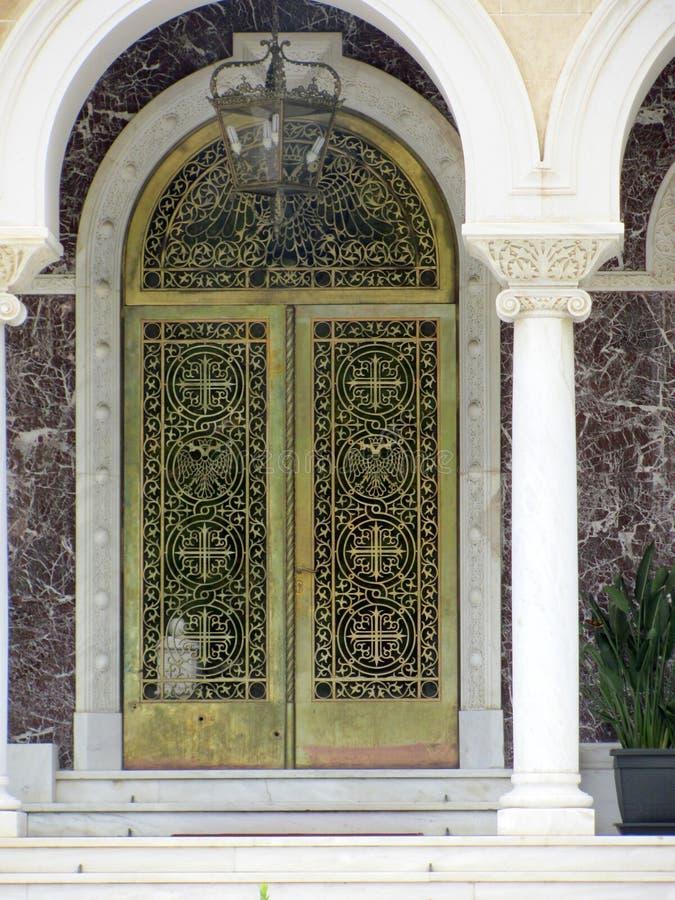Drzwi na pałac, oficjalnej rezydenci i biurze archbishop Cypr Archbishop ` s, obrazy royalty free