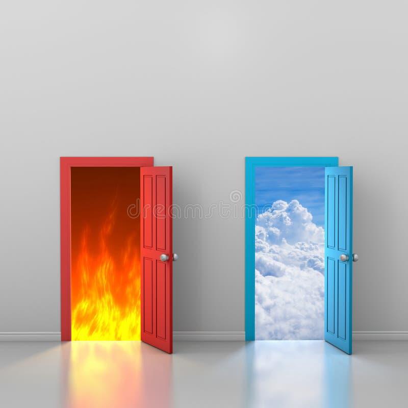 Drzwi niebo i piekło royalty ilustracja