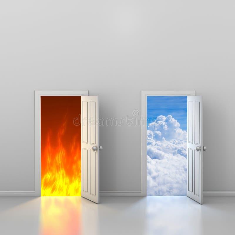 Drzwi niebo i piekło ilustracji
