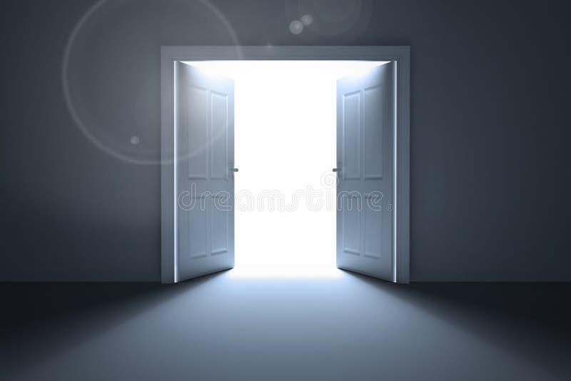 Drzwi otwiera odkrywczego światło ilustracja wektor