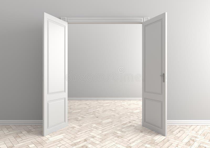 drzwi pokój pusty otwarty wewnętrzny scandinavian 3D illustratio ilustracja wektor