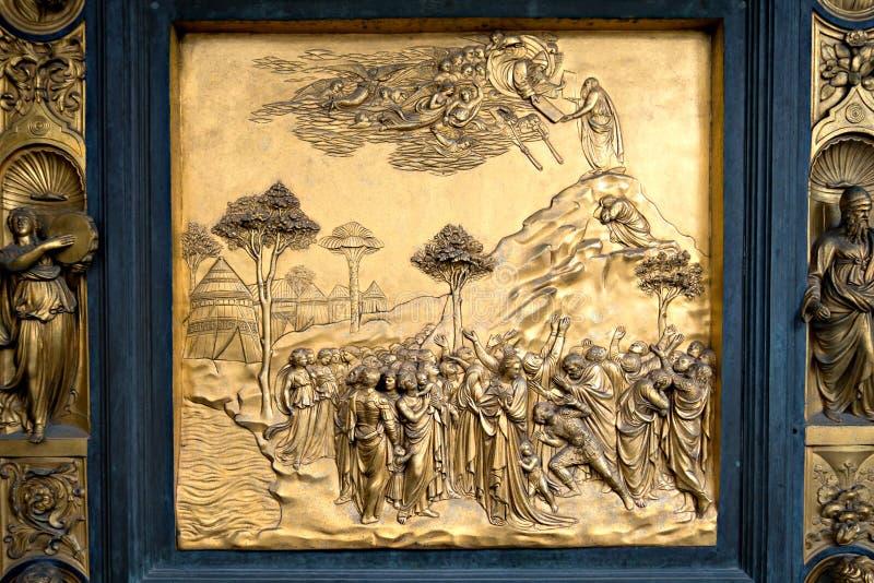 Drzwi szczegół Duomo baptysterium, Florencja obrazy stock