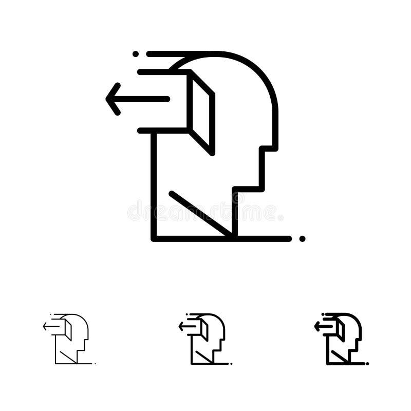 Drzwi, umysł, negatyw, Za, Uwalnia Śmiałego i cienkiego czerni linii ikony set royalty ilustracja