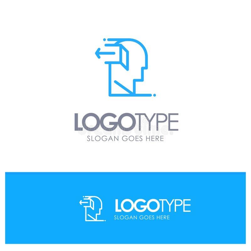 Drzwi, umysł, negatyw, Za, Uwalnia Błękitnego konturu logo z miejscem dla tagline ilustracja wektor