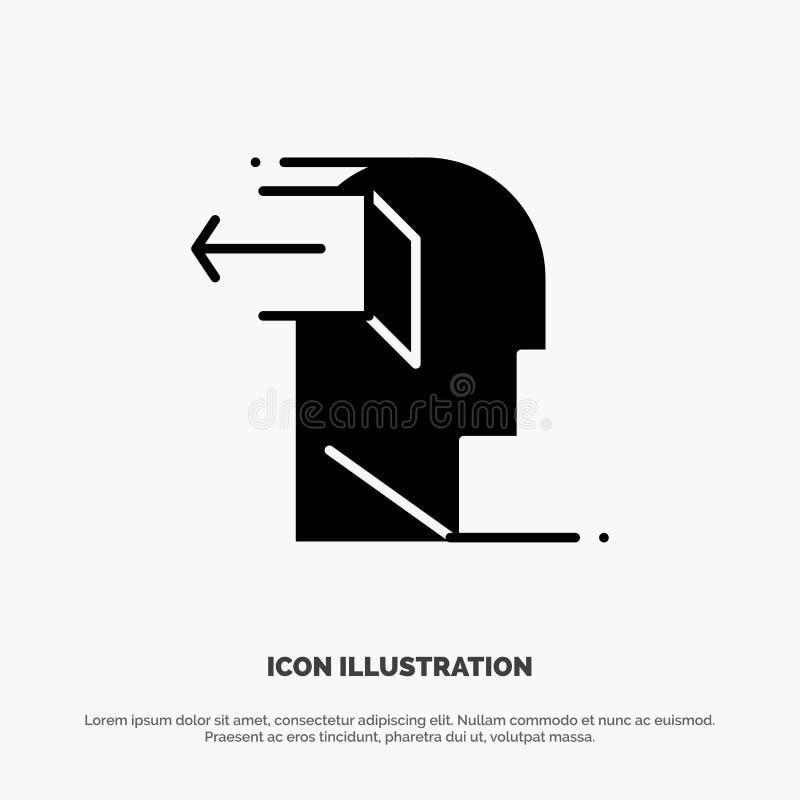 Drzwi, umysł, negatyw, Za, uwolnienie glifu ikony stały wektor ilustracja wektor