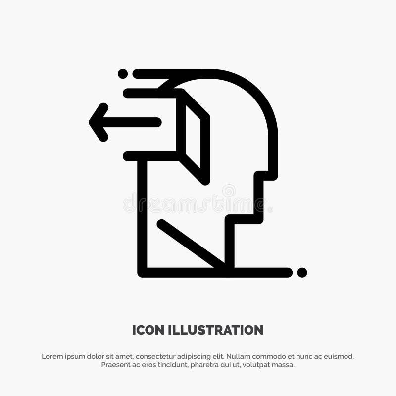 Drzwi, umysł, negatyw, Za, uwolnienie ikony Kreskowy wektor ilustracja wektor