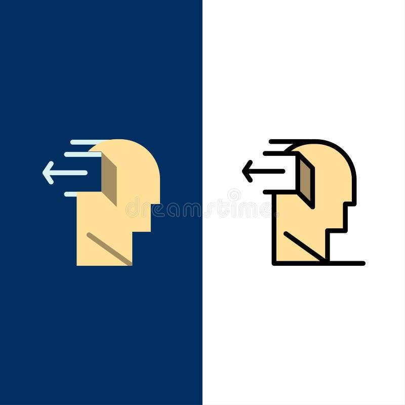 Drzwi, umysł, negatyw, Za, uwolnienie ikony Mieszkanie i linia Wypełniający ikony Ustalony Wektorowy Błękitny tło ilustracja wektor