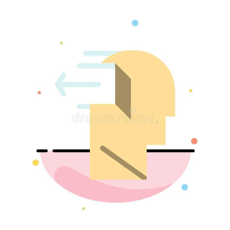 Drzwi, umysł, negatyw, Za, uwolnienie koloru ikony Abstrakcjonistyczny Płaski szablon ilustracji