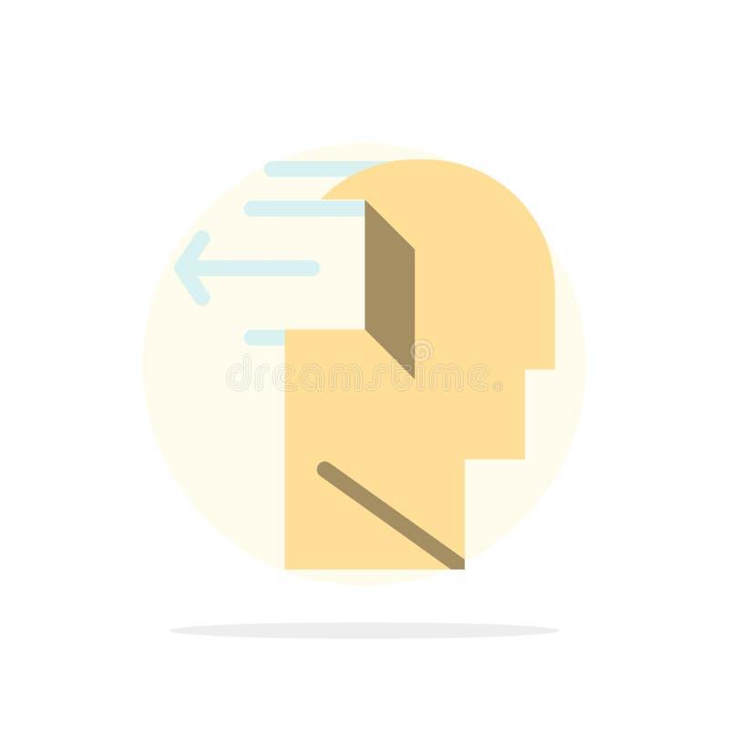 Drzwi, umysł, negatyw, Za, uwolnienie okręgu Abstrakcjonistycznego tła koloru Płaska ikona ilustracji