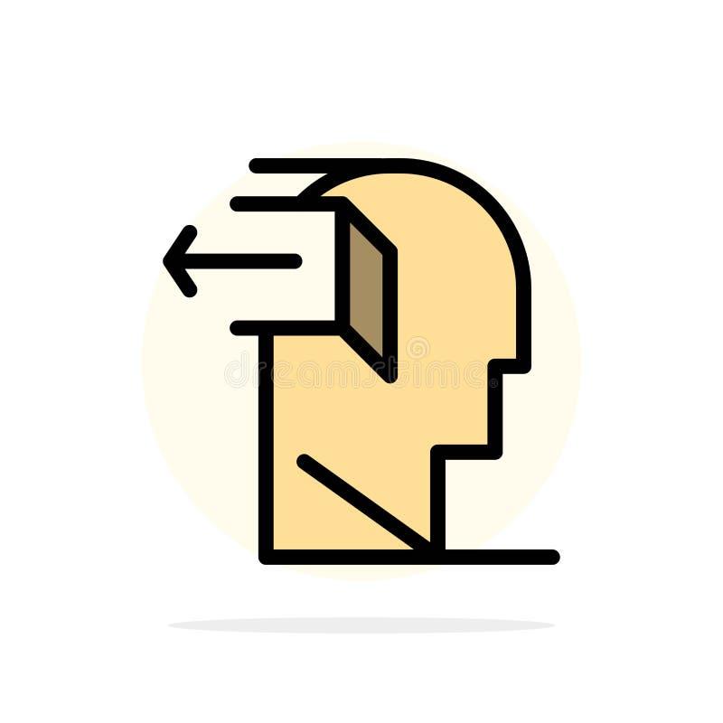 Drzwi, umysł, negatyw, Za, uwolnienie okręgu Abstrakcjonistycznego tła koloru Płaska ikona ilustracja wektor