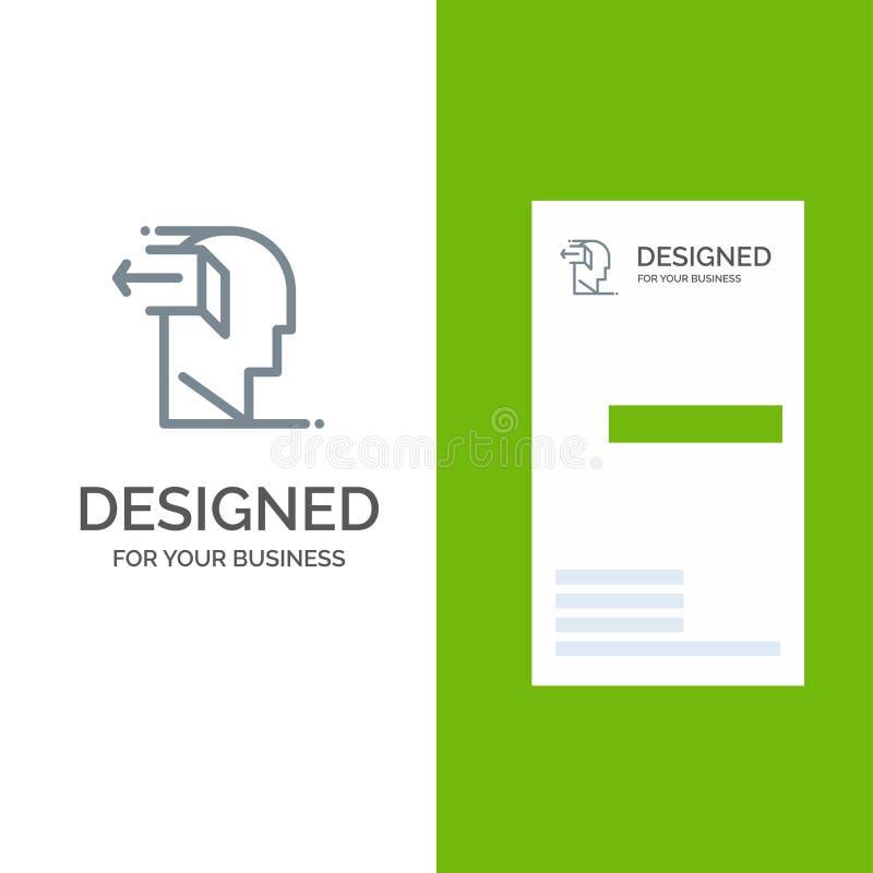 Drzwi, umysł, Popielaty logo projekt i wizytówka szablon, negatywu, uwolnienia, Za, royalty ilustracja