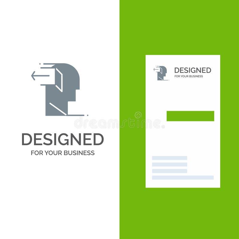 Drzwi, umysł, Popielaty logo projekt i wizytówka szablon, negatywu, uwolnienia, Za, ilustracji