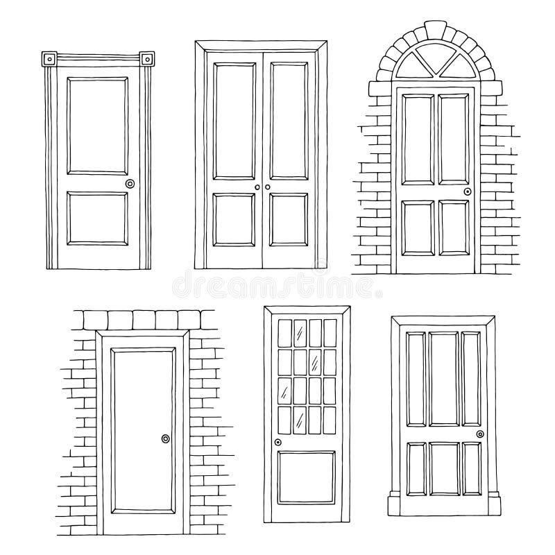 Drzwi ustawiają graficzną czarną białą odosobnioną nakreślenie ilustrację ilustracja wektor