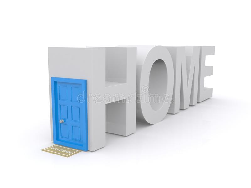 Drzwi w 3d stwarza ognisko domowe znaka ilustracja wektor