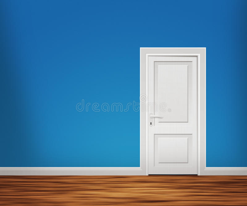 Drzwi w Błękitny Ścianie obraz royalty free