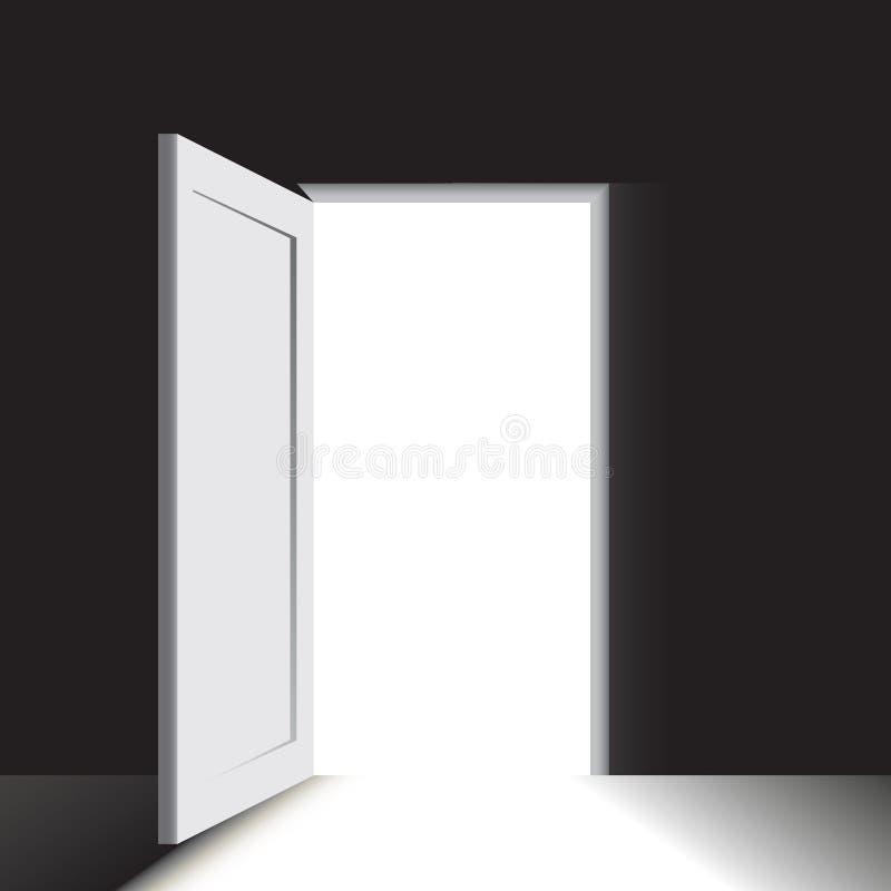 Drzwi w bardzo ciemnym pokoju ilustracji