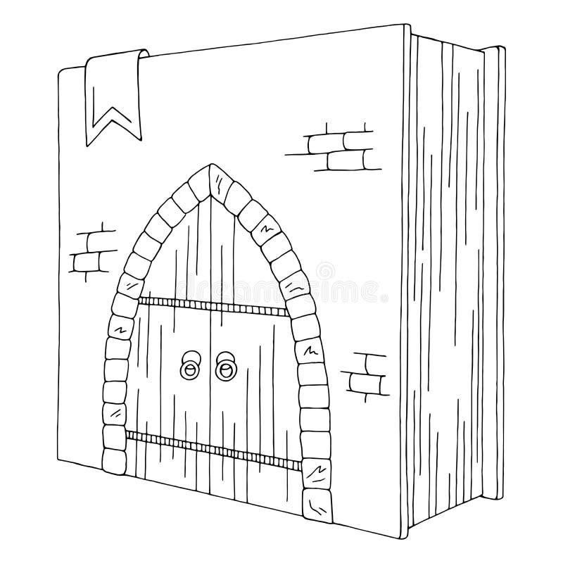 Drzwi w książkowym graficznym czarnym białym odosobnionym nakreślenie ilustracji wektorze royalty ilustracja