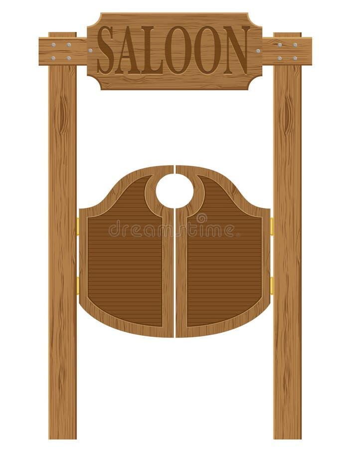Drzwi w zachodniego baru dzikiej zachodniej wektorowej ilustraci ilustracji