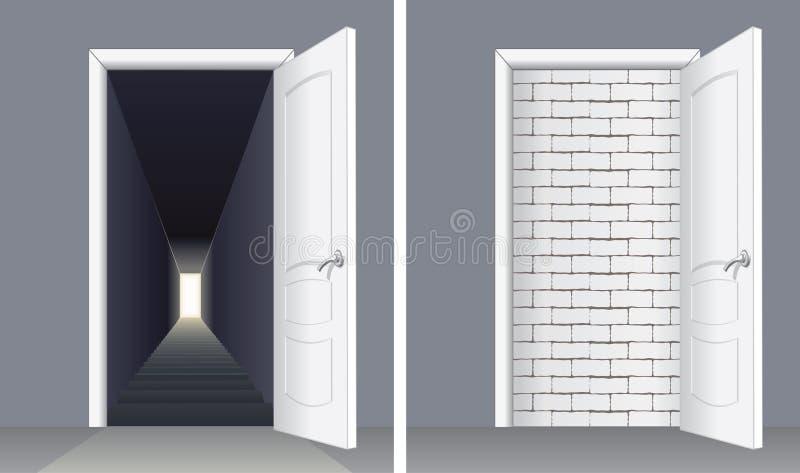Drzwi z ściana z cegieł i drzwi piwnica ilustracja wektor