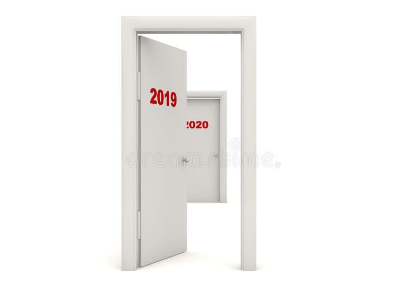Drzwi z 2019 nowy rok znakiem odizolowywającym na bielu ilustracji
