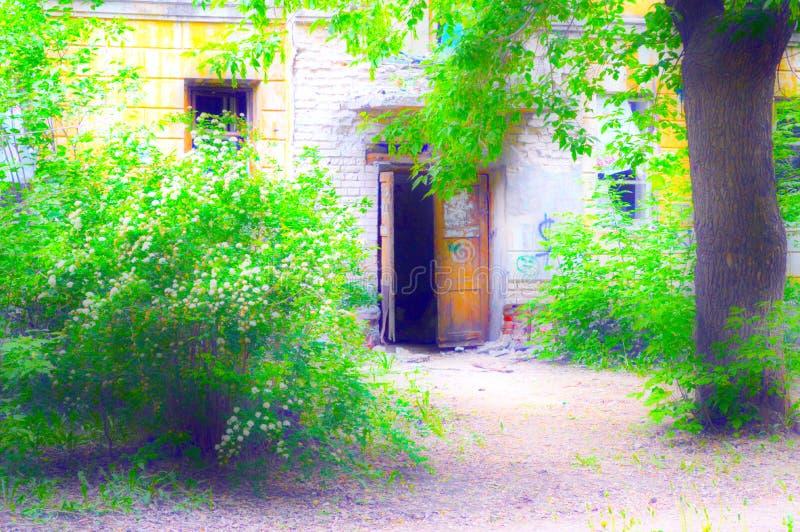 Drzwi zaniechany dom, stoi w zwartych gąszczach fotografia stock